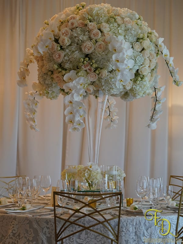Huge floral arrangement with phaelenopsis for wedding