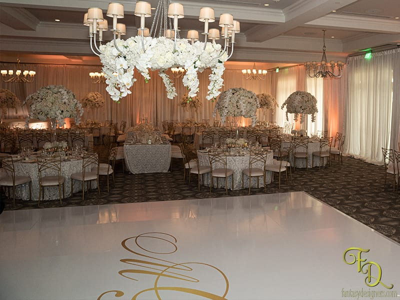 dance floor wrap with white walls wedding miami coral gables