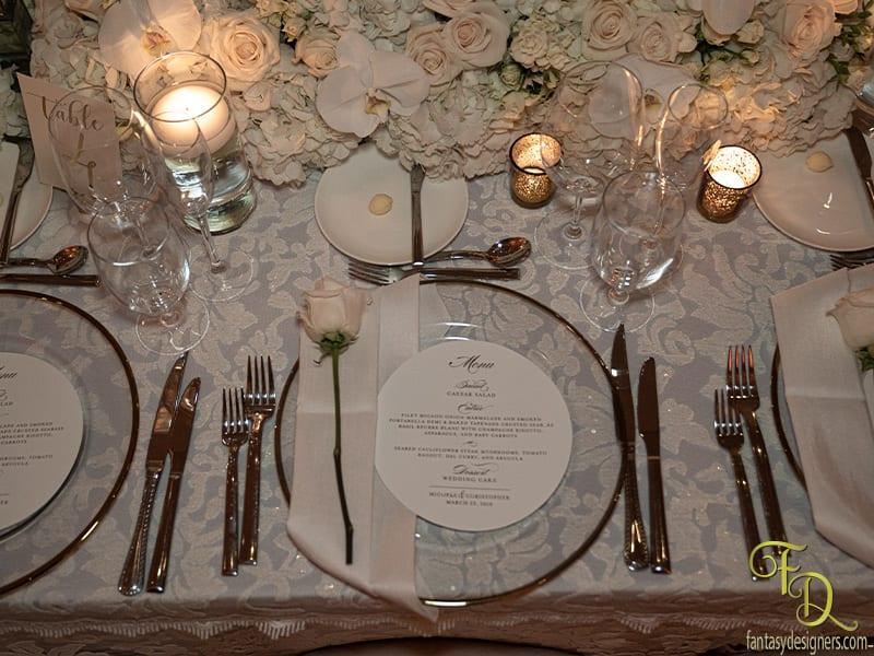 Wedding menu charger plate coral gables miami fl