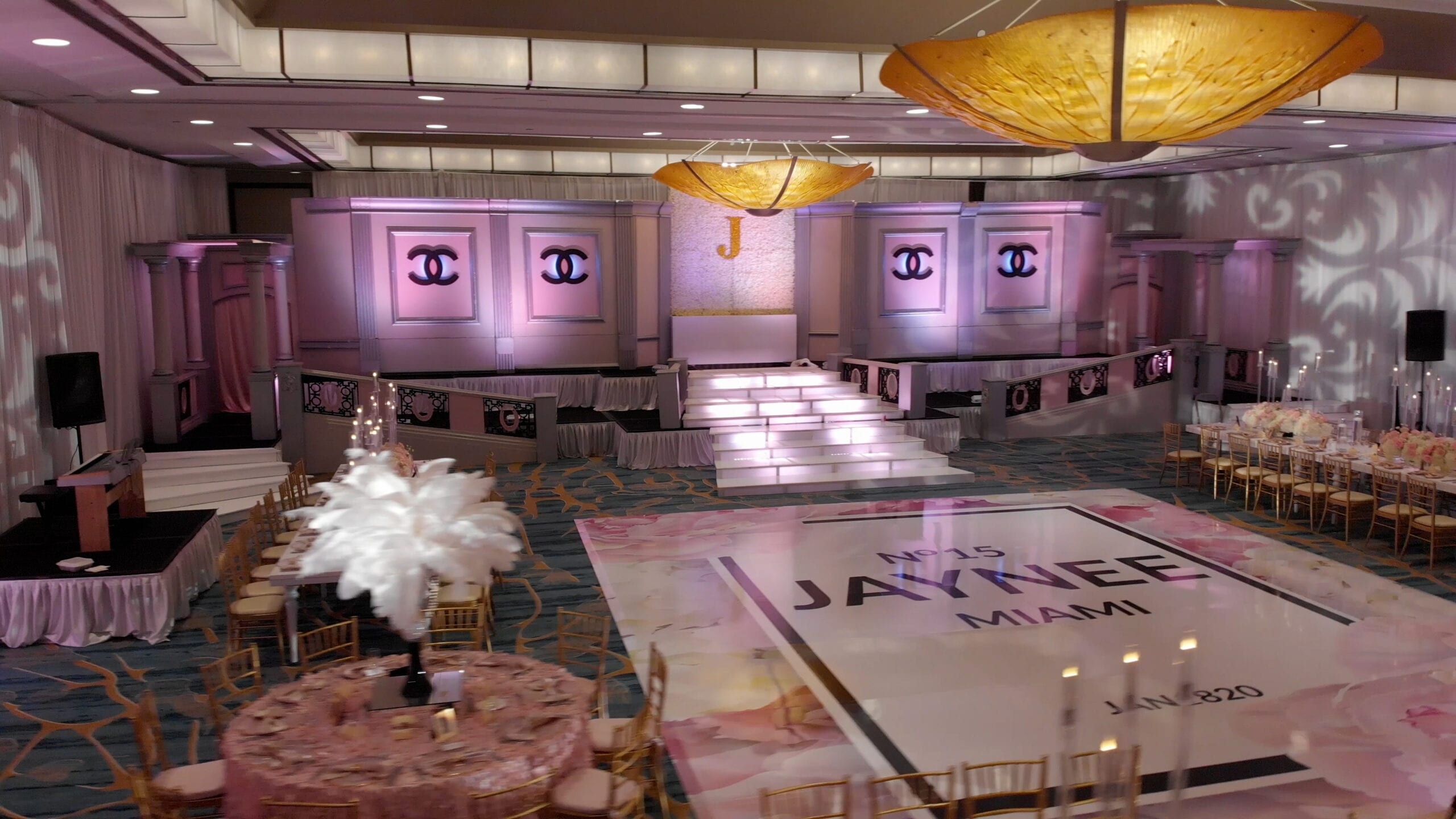 chanel themed stage and dance floor